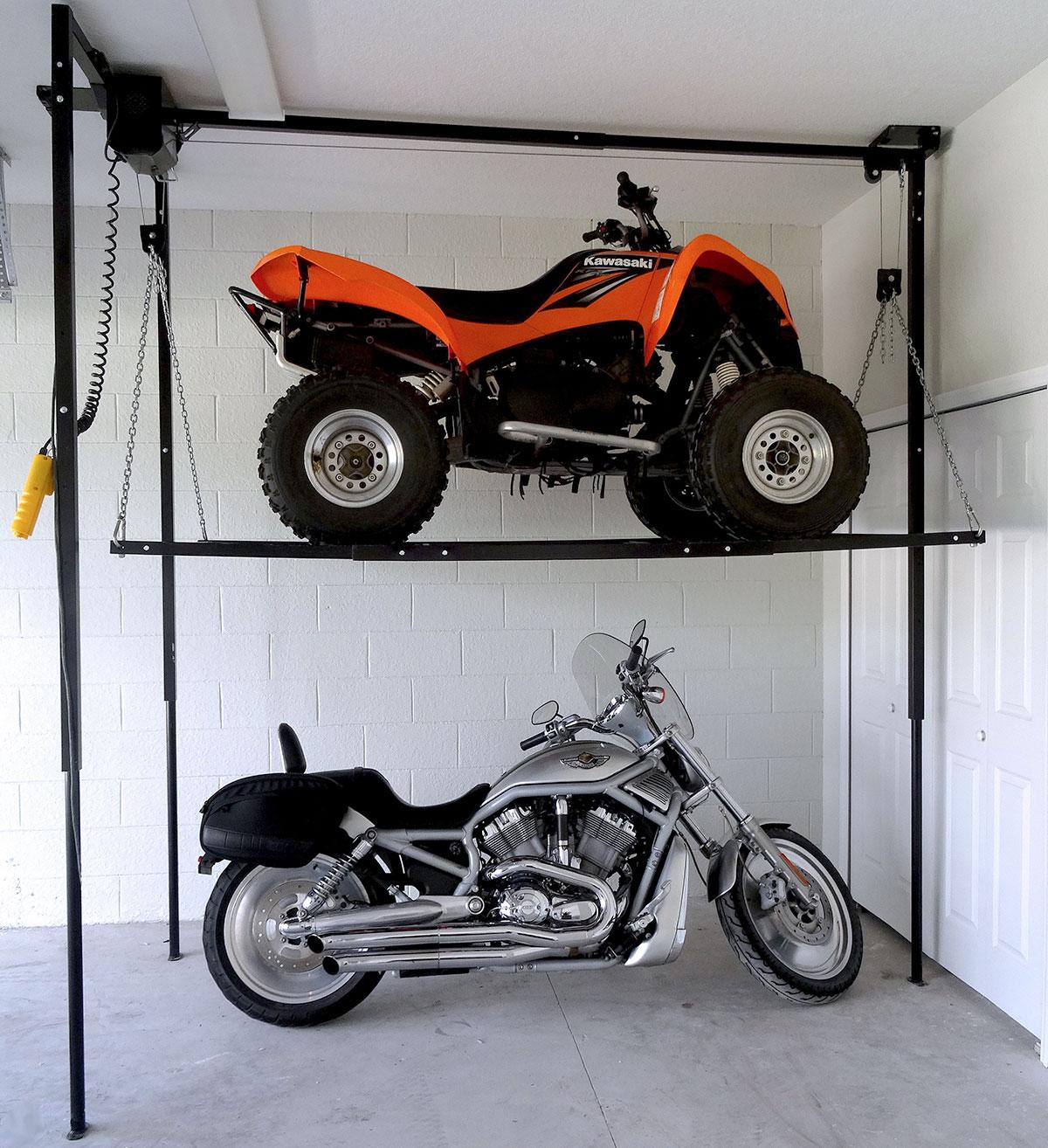 Atv lift garage storage platform store motorcycles for Garage moto scooter